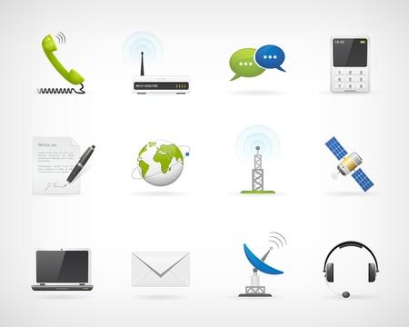 comunicación: Set de iconos vectoriales de comunicación detallados Aislado de fondo Cada icono en forma separada carpeta