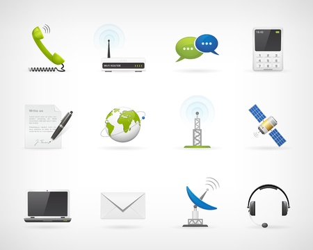 telecommunication equipment: Set of detailed communication vector icons  Isolated from background  Each icon in separately folder
