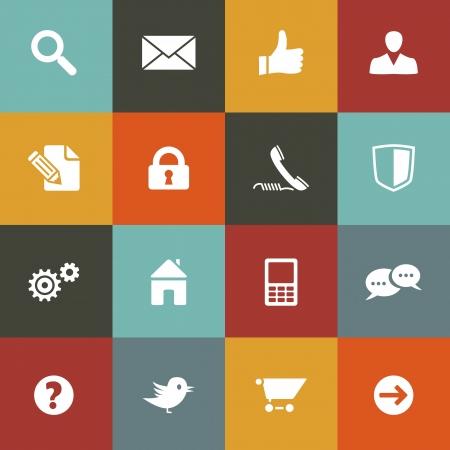 Communicatie en web icon set op vintage gekleurde achtergrond Gelaagd