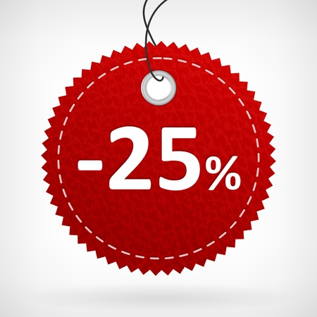 Red leather price vector labels -25 percent  isolated from background  layered