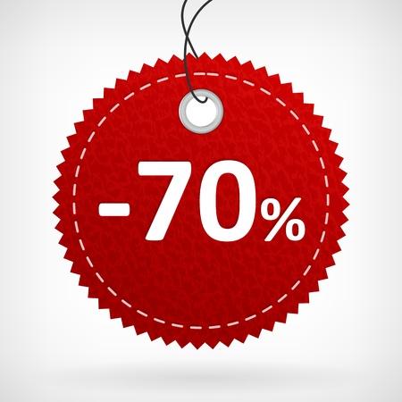 Rood lederen prijs vectoretiketten -70 procent geïsoleerd van de achtergrond gelaagde