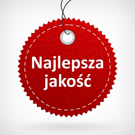 Red leather price vector label najlepsza jako��  isolated from background  layered  Illustration