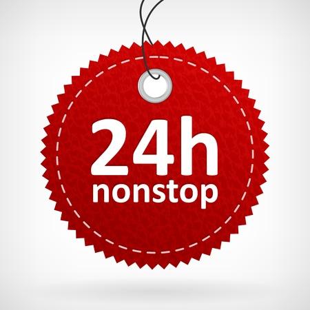 Rood lederen 24u nonstop vector label geïsoleerd uit achtergrond gelaagde