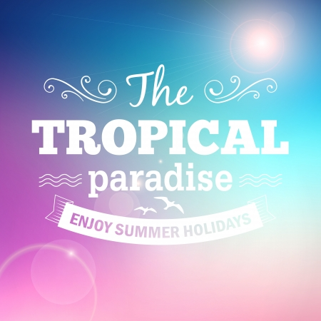 Tropical paradise summer holidays poster vector background Stock Illustratie