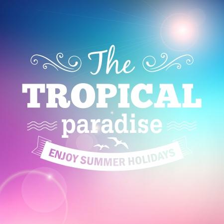 Tropisch paradijs zomervakantie poster vector achtergrond Stock Illustratie
