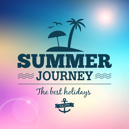 travel card: Summer journey vector text typography vintage poster isolated from background