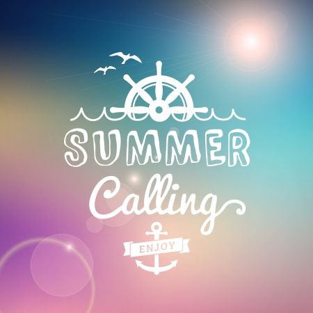 Enjoy Summer calling vector text typography vintage poster isolated from background