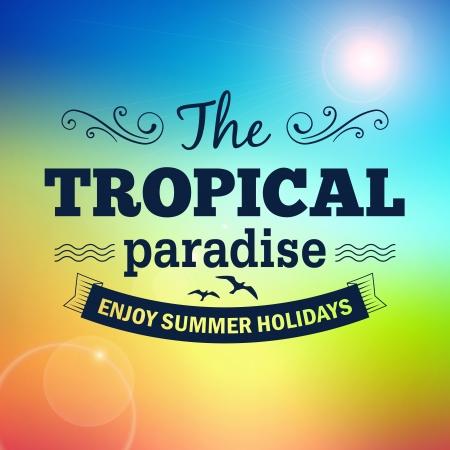 Tropical sunrise hawaii paradise summer holidays vector poster  イラスト・ベクター素材