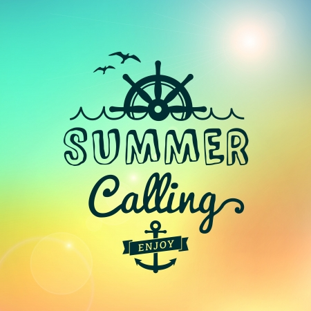 Enjoy Summer calling Sunrise hawaii vector text typography vintage poster isolated from background