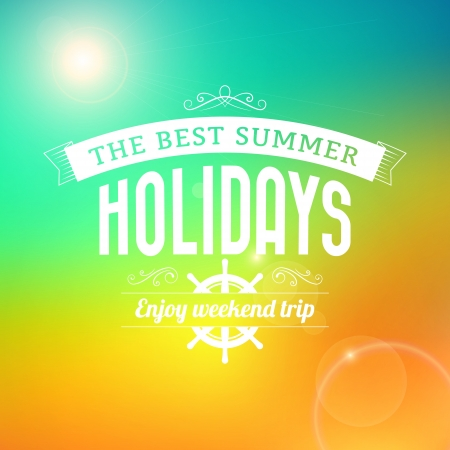 Summer Sunrise hawaii holidays enjoy weekend trip typography poster vector background Vector