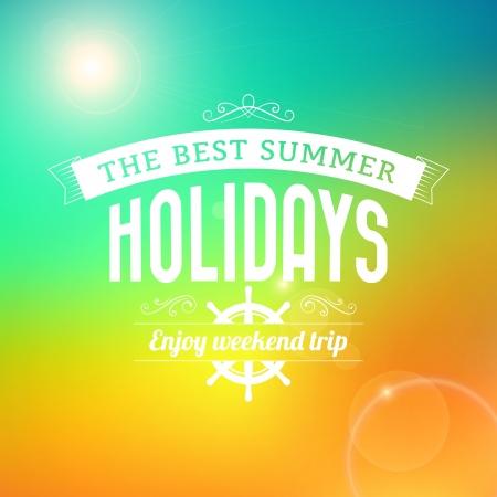 Zomer Sunrise hawaii vakantie te genieten weekendtrip typografie poster vector achtergrond