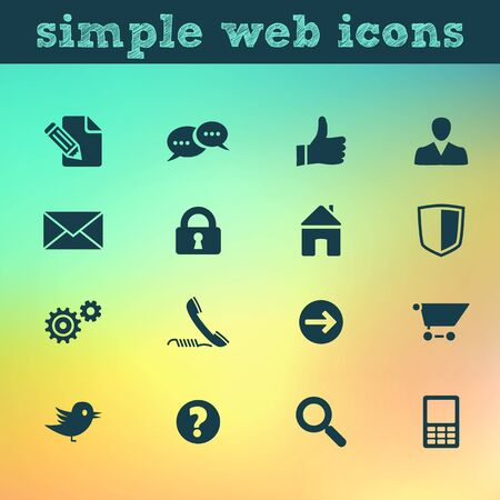 Web icons  internet vector set on blured background, each icon in separately folder  Stock Vector - 20888958