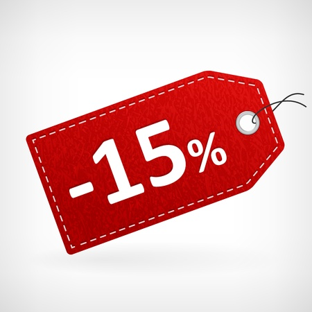 hang tag: Red leather price vector labels fifthten percent sale off  isolated from background  layered  Illustration