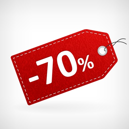 Rood lederen prijs vectoretiketten seventhy procent koop af geïsoleerd uit achtergrond gelaagde