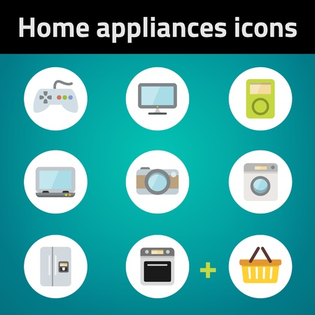 Shopping home appliances flat icon set on blue background  Each icon in separately folder  Vector