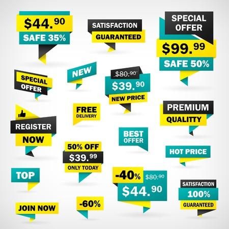 Stel prijs etiketten en banners in apart map, geïsoleerd van de achtergrond Stock Illustratie