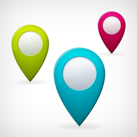 set colored vector map pointer, isolated from background, layred Illustration