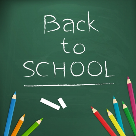 Back to school  written with chalk on blackboard vector illustration, isolated form background    イラスト・ベクター素材