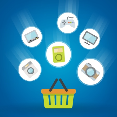 shopping flat icons theme on blue background  isolated  Vector