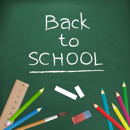 back to school vector illustration written on blackboard  isolated  layered  Vector