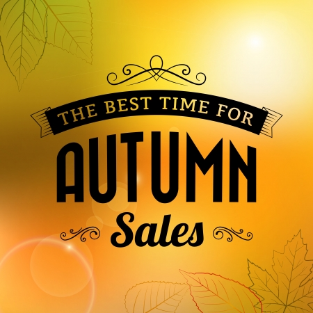autumn sale vintage vector