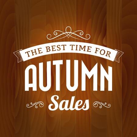 autumn sale vintage vector on wood background