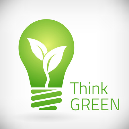Think green eco bulb vector illustration  isolated from bakground  layered   イラスト・ベクター素材