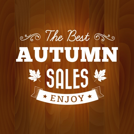 the best autumn sales vintage vector typography on wood background   isolated from background  layered   イラスト・ベクター素材