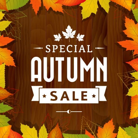 sale tag: autumn special sale vintage vector typography poster on wood background  layered