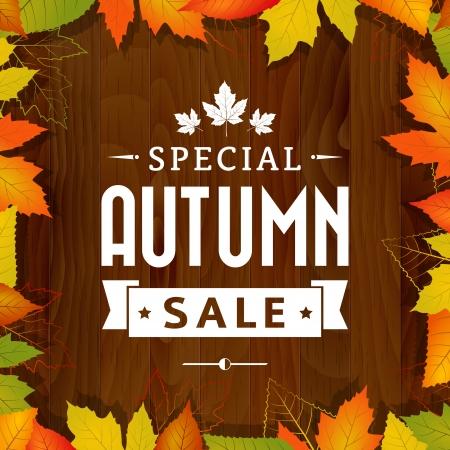 cobranza: especial de otoño vector vendimia venta tipografía del cartel sobre fondo de madera estratificada Vectores