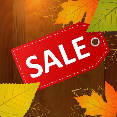 autumn sale vector label on wood background  layered   Illustration