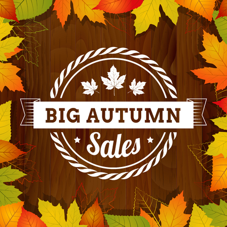 width: big autumn sales vintage poster on wood background width leafs  layered