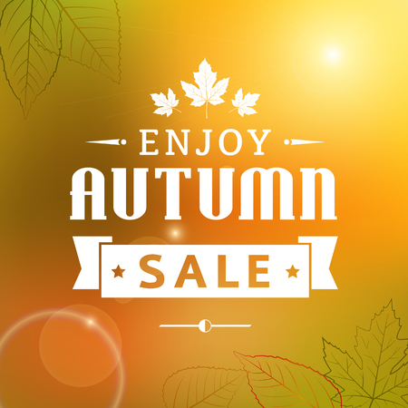 enjoy autumn sale vintage vector typography poster  layered
