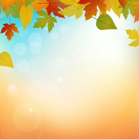 Autumn vector background width leafs and lights  イラスト・ベクター素材