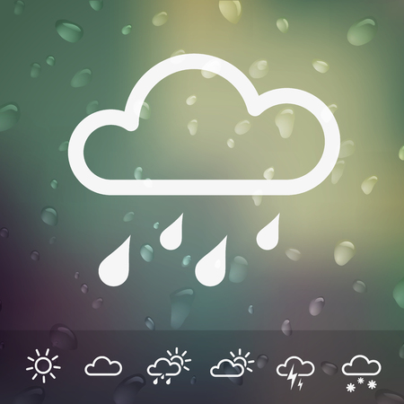 Weather Vector Icons on blurred Water drops background  Isolated from background  Each icon in separately folder