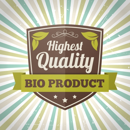 highest: Highest quality bio product vector label  isolated form background
