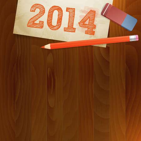 pf: vintage paper pf 2014 new year vector illustration