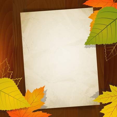 discount coupon: autumn vintage vector paper for sale on wood background  layered  Illustration