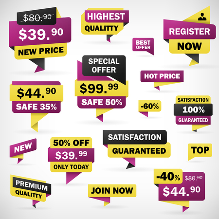 Set business offer price sticker and banners in separately folder, isolated from background