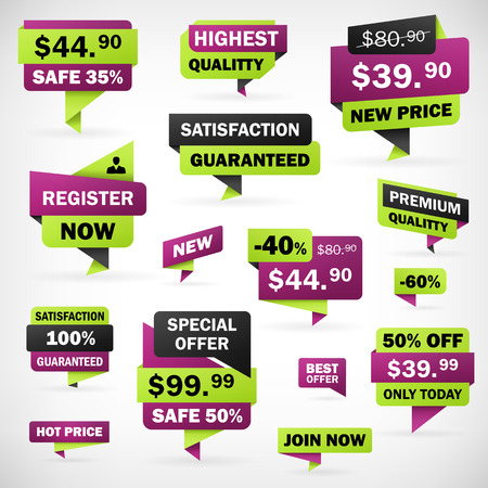 Set business offer price green and violet labels and banners in separately folder, isolated from background   Vectores