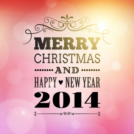 merry christmas and happy new year 2014 vector poster card  Illustration