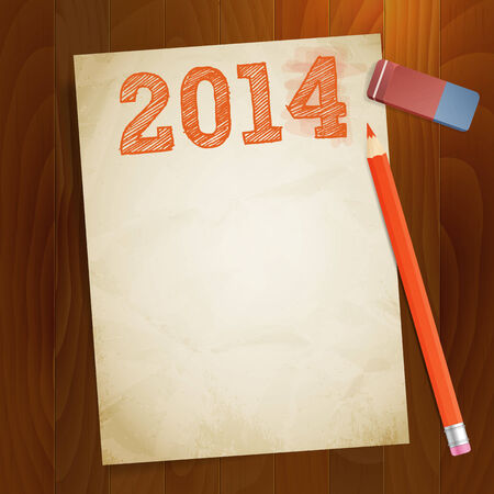 width: vintage paper width 2014 new year vector illustration