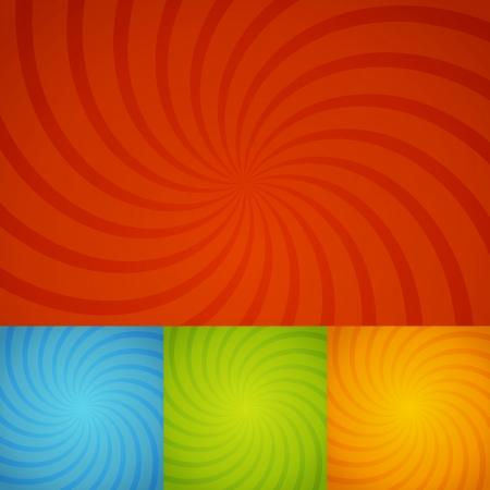 spiralling: set colorful twirl background for design Illustration