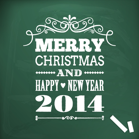 merry christmas and happy new year write on chalkboard Illustration