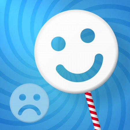 iconography: positive smiley better than negative on blue background