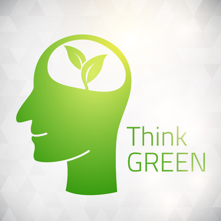 Ecology Think green head brain vector illustration  isolated from background  layered  Vector