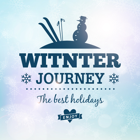 Winter journey holidays poster vector poster card  Vector