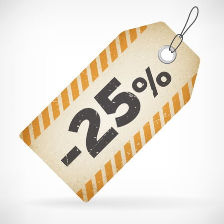 Realistic paper 25  sale off price vector label  isolated from layered