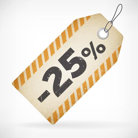 Realistische papier 25 verkoop off prijs vector label geïsoleerd van gelaagd