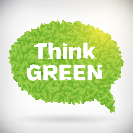 Ecology Think green speech bubble leaf vector illustration  isolated from layered  Vector